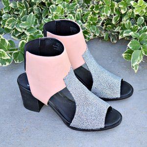 Shellys London Block Heel Colorblock Sandals